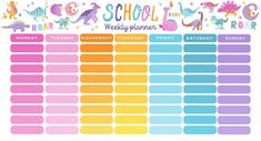 Template school timetable with hand drawn cartoon dino characters Premium Vector Timetable Template, Notes Template, Planner Template, Printable Planner, Templates, Adobe Illustrator, School Timetable, Weekly Planner, Weekly Schedule