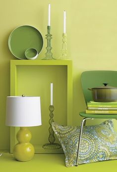 I think these green colors would really accent my kitchen. My wall color is a light teal like the fabric shown.