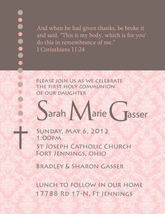 Girl First Communion Rosery Invitation by InvitedInc on Etsy, $19.99