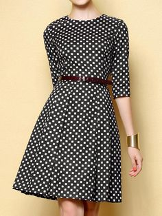 Dot Print Mid Dress with Belt