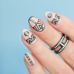 Nude and Black Aztec Nails with the SoNailicious stickers