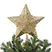 Gold & Silver Star With Pearl Christmas Tree Topper
