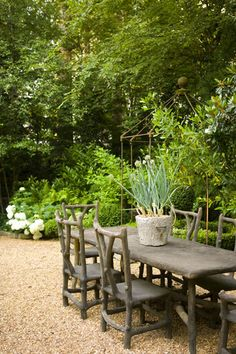 faux bois, backyard dining furniture. Mike Hammersmith.