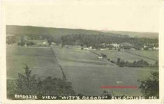 A vintage postcard Bird's Eye view of Witt's Resort at Elk Springs, Missouri. The Elk River, Ginger Blue Lodge and Ozark Wonder Cave were popular attractions in this area. Elk Springs is located between Lanagan and Noel. Elk Springs is in McDonald County, Missouri. historic photo