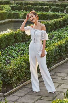 WHITE WEDDING: Choose Ted's MILIA jumpsuit for an alternative bridal look Cat Tie, Tie The Knots, Bridal Boutique, Bridal Looks, Well Dressed, Beauty And The Beast, Ted Baker, Dream Wedding, Jumpsuit