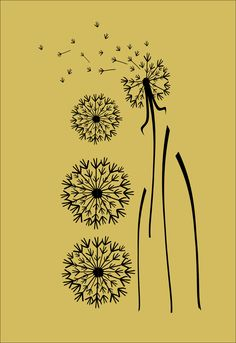 Extra Large Dandelion Vinyl Wall Decals - Set of 4. $74.95, via Etsy.