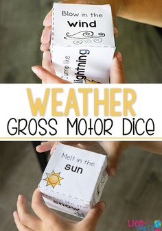 Free Printable Weather Gross Motor dice for kids. Perfect for brain breaks, a weather unit or just keeping the kids moving when they can't get outside to play. Weather Activities for Kids Weather Activities Preschool, Gross Motor Activities, Movement Activities, Preschool Lesson Plans, Preschool Science, Gross Motor Skills, Sensory Activities, Physical Activities, Physical Education