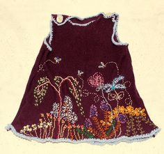 hand embroidered wool pinafore by atticusfinchnz on Etsy