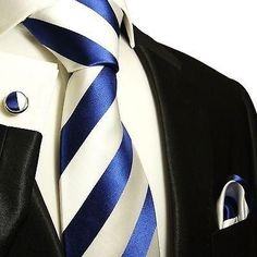 Navy and White Block Striped Silk Tie and Accessories