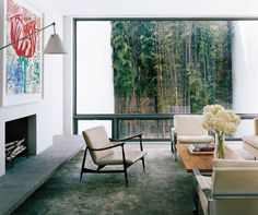 Modern Living Room and Steven Harris Architects in New York, New York