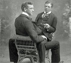 "n a petition to the New York Gazette, the club proposed that those ""old bachelors,"" (many of whom were gay men) who were not carrying out their proper duties… Vintage Couples, Cute Gay Couples, Vintage Love, Vintage Men, Lovers Photos, Before Us, Man Photo, Man In Love, Vintage Photographs"