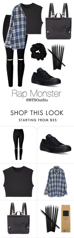 """""""School with Rap Monster"""" by btsoutfits ❤ liked on Polyvore featuring Converse, Kate Sheridan, women's clothing, women, female, woman, misses and juniors"""
