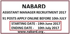 NABARD Assistant Manager Recruitment 2017 Apply Online 91 jobs