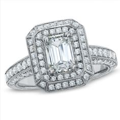 2 CT. T.W. Emerald-Cut Diamond Engagement Ring in 14K White Gold
