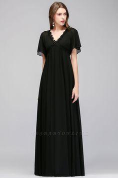 A-line V-Neck Short-Sleeves Floor-Length Bridesmaid Dresses   Yesbabyonline.com