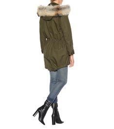 Cotton-Blend Fur-Trimmed Parka - Saint Laurent | mytheresa Khaki Parka, Ysl Bag, Mod Fashion, Down Coat, Tweed Jacket, Online Bags, Leather Ankle Boots, Fur Trim, Alternative Fashion