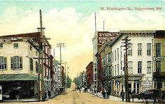 Hagerstown Maryland MD 1908 Downtown West Washington Street Vintage Postcard Hagerstown Maryland MD Circa 1908 Downtown on West Washington Street with Central Drug Company and Eyerly's Department Stor