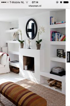 "The Simple Proof ""Room Inspiration"" this week finds us redesigning our family room fireplace to give our space a little more character Fireplace Bookshelves, Home Fireplace, Fireplace Design, Farmhouse Fireplace, Grey Fireplace, Fireplace Kitchen, Modern Fireplaces, Fireplace Mirror, Victorian Fireplace"