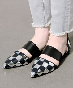 Toga Pulla Silver Check Point Toe Flats