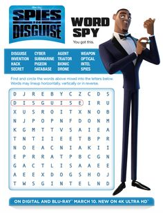 Spies in Disguise flies on to digital, blu-ray and Ultra HD March Prepare with these free, printable Spies in Disguise activity sheets and learn how to throw the best spy-themed party. Summer Fun List, Summer Kids, Spy Names, Indoor Activities For Kids, Summer Activities, Family Activities, Outdoor Activities, Free Printable Word Searches, Fox Home