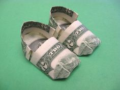 2 Bill Baby Booties Money Origami