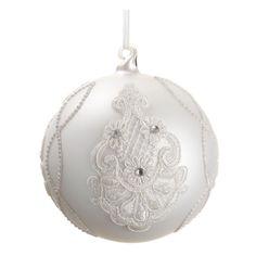 White Rhinestone & Lace Christmas Ornament