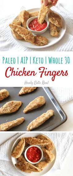 Healthy Chicken Fingers (Paleo, Gluten Free, Keto, AIP, Whole 30)-- Great recipe idea for kids!