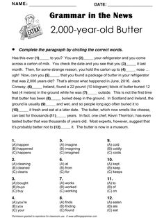 English Grammar in the News Butter', Mixed (includes present… English Units, English Test, English Words, English Lessons, Learn English, English Grammar Exercises, English Grammar Worksheets, Grammar Lessons, English Vocabulary