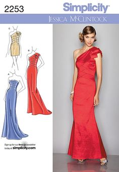 Evening Dress, Formal Wear Pattern by Jessica McClintock for Simplicity 2253 *Size 4-12