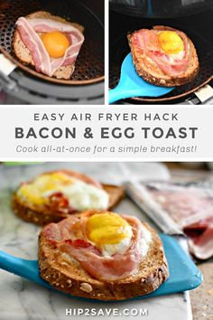 Did you know you can make bacon, egg, and toast all together in the air fryer at the same time?! This genius air fryer breakfast hack works great! #airfryer #airfryerhacks #airfryerbreakfast #breakfast #breakfasthacks #baconeggtoast #airfryerrecipes #breakfastrecipes Air Fryer Recipes Breakfast, Air Fryer Oven Recipes, Air Frier Recipes, Air Fryer Dinner Recipes, Airfryer Breakfast Recipes, Bacon And Egg Sandwich, Bacon Egg, Cooking Bacon, Cooking Recipes
