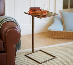Adalyn Accent Side Table | Pottery Barn AU  possible side table in TV/library area over couch