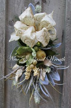 Grand Chateau Holiday Petite Swag by NewEnglandWreath Christmas Greenery, Christmas Swags, Outdoor Christmas, Christmas Holidays, Christmas Decorations, Xmas, Christmas Ornaments, Easter Wreaths, Holiday Wreaths