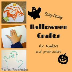 Easy Halloween crafts - hand print ghost and yarn pumpkins
