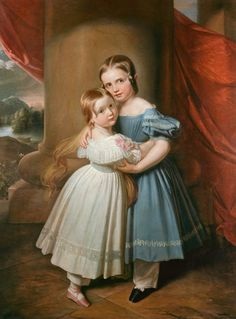 Sidonia and Anna Maria of Saxony, Carl Christian Vogel von Vogelstein. Circa late 1830s. Girls born in 1834 and 1836 respectively.