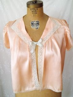 LOVELY 1930's Satin Peach Night Jacket with by GlamorousScavenger, $30.00