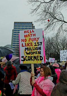 Womens march on Washington Portland  Oregon protest signs  Resistance resist  Hell hath no fury