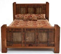 Rustic Cabin Bed. I like the angled post tops and the cross-hatched design on the head and foot boards.