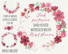 Watercolor floral wreath: hand painted royal by LollysLaneShoppe