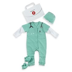 This Baby M.D. two-piece layette set is a whimsically cozy doctor's outfit for your own aspiring doctor.