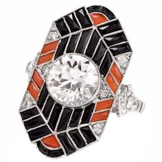 Onyx Diamond Coral Platinum Jazz Design Ring | From a unique collection of vintage cocktail rings at www.1stdibs.com/… | Gems Gallery