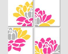 Large Scale Floral Kaleidoscope Quad Set of Four 11x14 by Tessyla