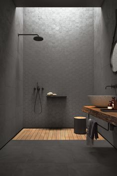 Concrete-look tiles from the Arnold Lammering tile studio. Arnold Lammering GmbH - Concrete-look tiles from the Arnold Lammering tile studio. Arnold Lammering GmbH Concrete-look tiles from the Arnold Lammering tile studio. Bad Inspiration, Bathroom Inspiration, Bathroom Inspo, Bathroom Ideas, Bathroom Design Luxury, Home Interior Design, Washroom Design, Minimalist Bathroom Design, Interior Architecture