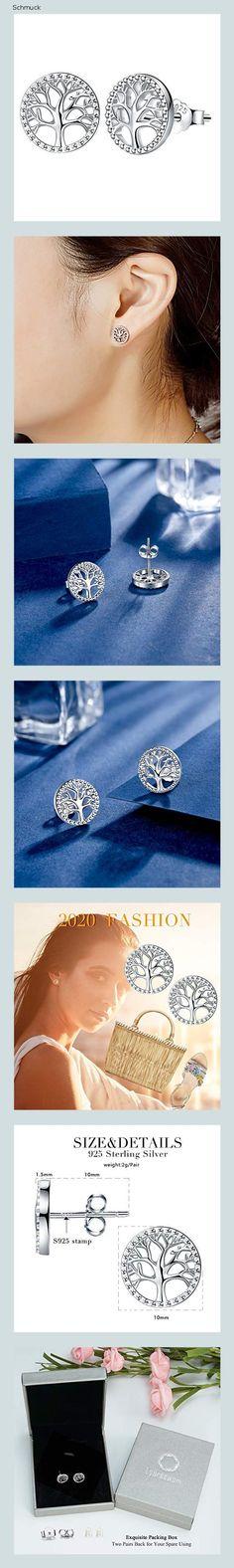 Lydreewam Lebensbaum Ohrringe für Damen 925 Sterling Silber mit Geschenkbox, Durchmesser 10mm - 14h6
