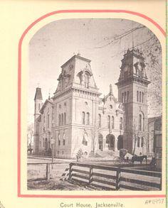 Antique postcard, Courthouse, Jacksonville, Illinois Jacksonville Illinois, Old Victorian Homes, Postcards, Taj Mahal, Antique, Usa, History, Building, Places