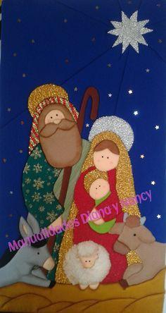 CUADRO NAVIDEÑO EN PATCHWORK SIN AGUJA Nativity Crafts, Christmas Crafts, Christmas Decorations, Christmas Ornaments, Christmas Nativity Scene, Felt Christmas, Christmas Stockings, Christmas Applique, Church Banners