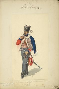 Russia, Hussar Regiment Isioum, Officer 1806. Note in 1809 uniform colours for this regiment changed  to dark blue pelisse with a dark green dolman faced red at collar & cuffs