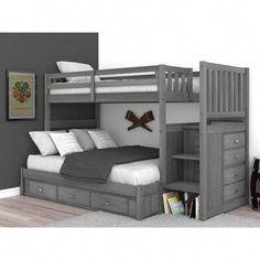 Harriet Bee Sandler Bunk Bed with Drawers Bunk Beds For Girls Room, Bunk Bed Rooms, Twin Bunk Beds, Kids Bunk Beds, Kids Bedroom, Bedroom Decor, Queen Bunk Beds, Boy Bedrooms, Bedroom Ideas