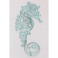 This large, metal seahorse has loads of charm. Beautiful designed sea horse in blue scroll pattern. Made of metalIt's eye-catching design will make your beach themed room!Sea Horse Metal Wall Art Measures: 18.5L inches
