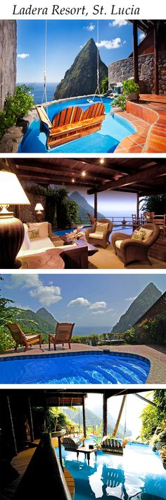 Ladera Resort, St. Lucia... Cannot wait to stay here!!!! Every room only has 3 walls! Open to the rain forest, Pitons, and sea!!!