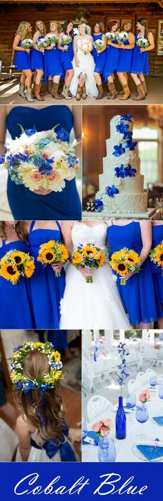 rustic fall wedding ideas with cobalt blue color palettes